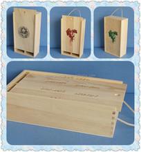 2 bottle paulownia silk-screen wooden wine box with sliding lid