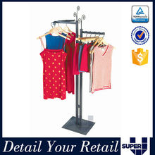customized square metal base hanging clothes display rack