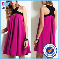 Yihao 2015 New Clubwear Fuchsia Sleeveless Turtleneck Patchwork Dress Summer Cute Mini Dresses For juniors Vestidos Juveniles
