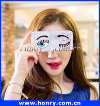 mobile phone Big Eyes Wink Long Eyelash Phone Case Fancy Bling Patch Phone Cover Case For iPhone 6/6 plus