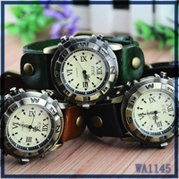 wholesale small order quantity hot sale wrist watch leather strap roman numerals dial vintage watch for unisex gift free sample