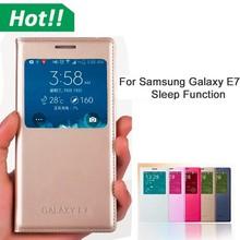 Auto Sleep/Wake up smart view window leather flip case for Samsung galaxy E7 E5 E3