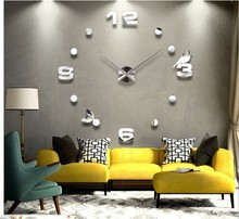 Large Luxury Flying bird shape DIY 3D acrylic Wall Clock for home/office decoration