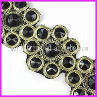 Alibaba Wholesale 5CM Embroidery Beaded Gold Trim For Dress WTA112