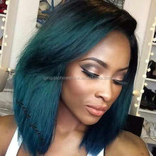factory price top fashion brazilian hair light blue full lace hair wig