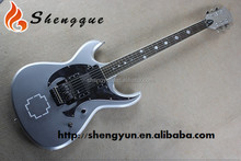 Rock Custom Logo Inlay Acoustic Grey Electric Guitar