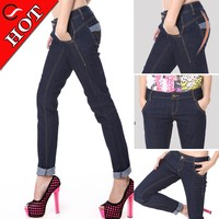 High quality china jeans women for branded clothing stock lots of blue wear