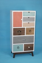 high quality wooden cabinet with colorful drawers of living room or bathroom cabinet of home furniture