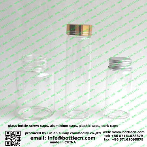 250 ml verre tube à essai avec aluminium bouchon à vis