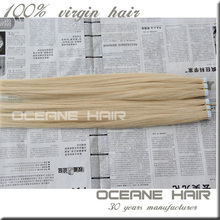Factory wholesale most popular new style tape in hair blonde remy virgin hair