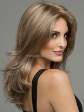 Long Blonde Curly Synthetic Full Cap Wig for White women