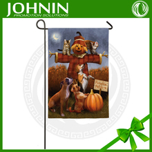 Pumpkin Patch Scarecrow Cat And Dog Friends Welcome Fall Garden Flag
