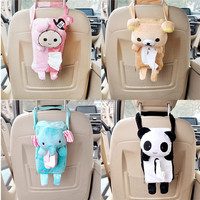 New Design Soft Plush Cartoon Tissue Box Case Container Cover Car Seat Accessories House Decoration Paper Bag Holder Box