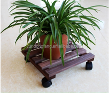 outdoor roller solid wood garden flower or plant pot tray