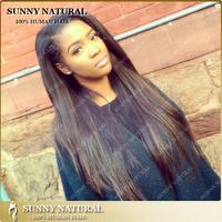 8A grade 26inch long silky straight black best virgin brazilian human hair straight full lace wigs for black women