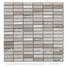 beauti wallpap wood light grain mosaicing stone mosaics mix glass mosaic tile