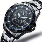 Moda luxo Casual aço inoxidável de quartzo relógios de pulso homens assistir
