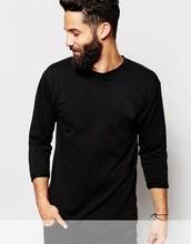 Long Sleeve O neck basic plain men black T-Shirt