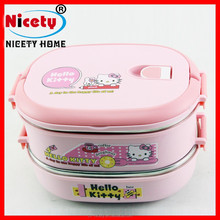 Good quality Hello Kitty type square stainless steel two layers lunch box for kids