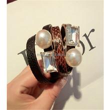 fashion korea accessories snake leather pearl glass beads bracelet with bracelet pen