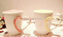 creative lovely heart ceramic mug with Q handle and lid,lovers new bone breakfast milk cup