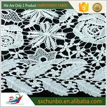 2016 branco CHEMICLE laço de tecido bordado DESIGNS BIG flores para vestido YB-W007-1