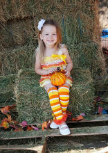 Halloween Orange Yellow White Lace Romper Candy Cone Warmers Hair Clip Costume