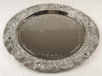 chuang silver round iron plate with rose patterm