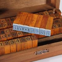 DIY Multi Purpose 70pcs/set Vintage Regular Script Number Lowercase Alphabet Letter Decoration Wood Rubber Stamps Set Wooden Box
