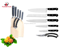 German steel classical ABS handle kitchen knife set with scissors and wood block