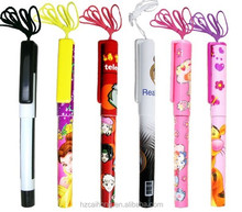 Good service colorful cartoon stick plastic school ballpoint pen with lanyard CH-6595