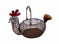 Hot sale Unique Wrought Iron Rooster Basket