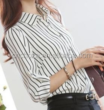 Z59581A Office wear Ladies' Stripe Print Long Sleeve Chiffon Shirts Fashion Women's Blouses