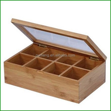 WOODEN TEA BAG BOX WHIT COMPARTMENTS AND GLASS TOP