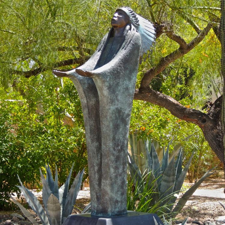Reproducción estatuas de jardín al aire libre de Metal bronce antiguo oración indio Apache escultura