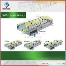 automatic environmental controlled light Zinc - Coated steel structure prefab chicken farm
