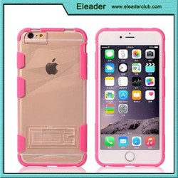 Hybrid pc tpu case for iphone 6, hard transparent stand case for iphone 6