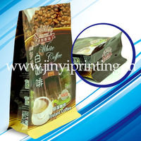 zip lock flat bottom bag with side gusset for coffee bag