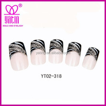 Wholesale High quality zebra stripe full cover free pinted fake/false nails,nail tips, artificial nails