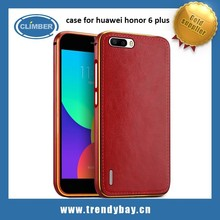 new products hot selling double color aluminum bumper with leather back cover for huawei honor 6 plus case
