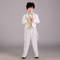 Fashion 2015 white boys blazer for wedding Dovetail Set children's Magician costumes cheap kids' Stage Performance Set