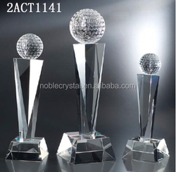 New arrival high quality custom design crystal golf trophy with top golf ball