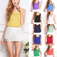 Hot Sale 2015 Summer New Women Fashion Chiffon Sleeveless Tops Casual Solid Color Vest Blouses Comfy Shirt Blusas 16 Color M-3XL