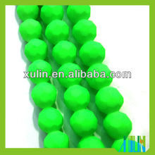 high quality rubber neon color glass 32 faceted balls beads