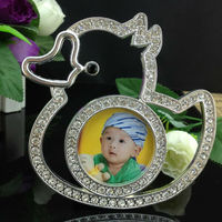 Wholesale Zinc alloy photo frame with rhinestone cute duck shaped photo frame baby favor lovely funny photo frame baby picture