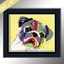 Lovely abstract vivid Pug Dog painting for child care center
