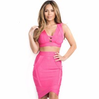 2014 Hot New Style 2 Piece Hollow Out Back Cross Sexy Women HL Bandage Bodycon Dress Rose Red/Yellow