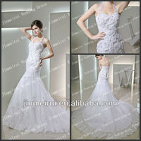 2014 Famous Designer Halter A-line Lace Bridal Wedding Dress Real Sample