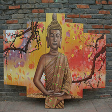 Cheap and high quality 5 pieces a group handmade buddha oil painting on canvas
