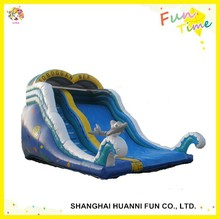 2015 newly design PVC 0.55mm two lanes inflatable water slide with pool made in china